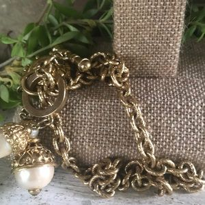Vintage Jewelry - Vintage Chain Pearl Charm Necklace